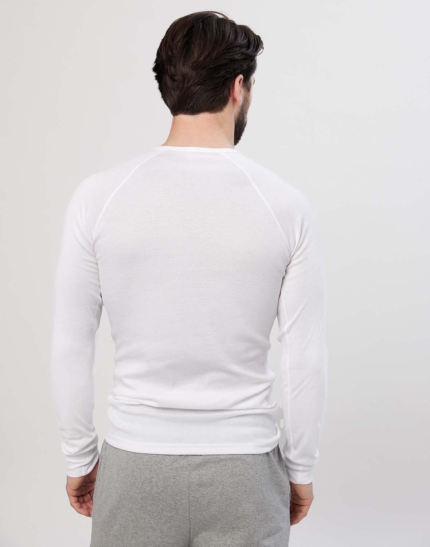 dilling langarmshirt mit knopfleiste f r herren wei bio. Black Bedroom Furniture Sets. Home Design Ideas