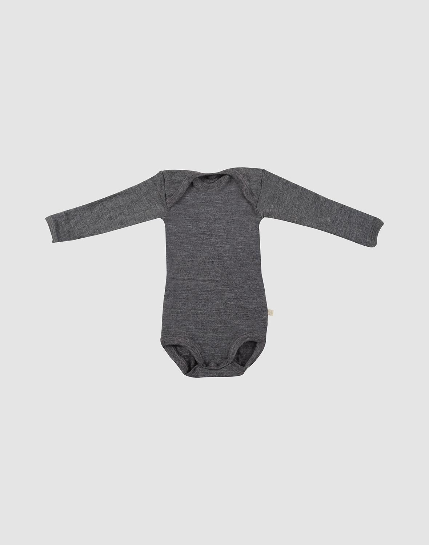 Image of Baby body m/langt ærme - økologisk merino uld mørk gråmelange Uldundertøj