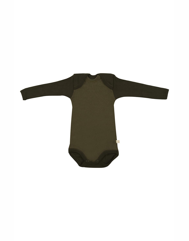 Image of Baby body m/langt ærme - økologisk merino uld grøn Uldundertøj