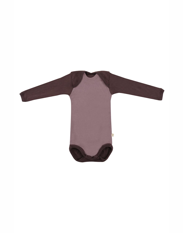 Image of Baby body m/langt ærme - økologisk merino uld mørk rosa Uldundertøj