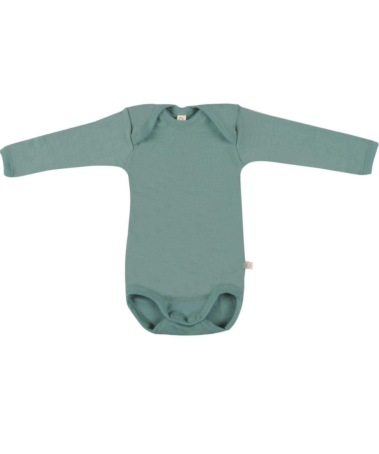 Image of Baby body m/langt ærme - økologisk merino uld lys grøn Uldundertøj