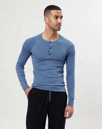 Premium Classic - Langærmet t-shirt mænd bomuld blå