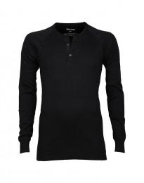Premium Classic - Langærmet bomuldstrøje med knapper til herrer sort