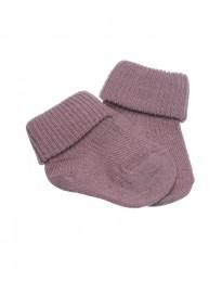 Babystrømper - økologisk merino uld mørk rosa