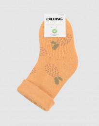 Blomstermønstret babystrømper - uldfrotté gul