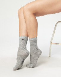 Damestrømper - økologisk merino uld gråmelange