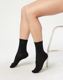 Damestrømper - økologisk merino uld sort