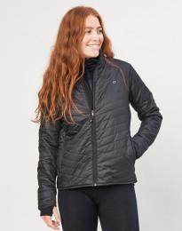 Outer-Layer jakke med lynlås til dame - genanvendt polyester/merino uld sort