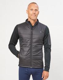 Hybridjakke med lynlås til herre - genanvendt polyester/merino uld sort