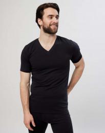 Bomulds T-shirt med V-hals til herrer sort
