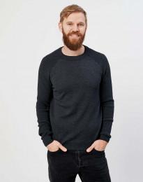 Strikket sweater til herrer mørk gråmelange