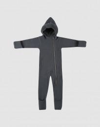 Køredragt til baby i merino uldfleece Mørk grå