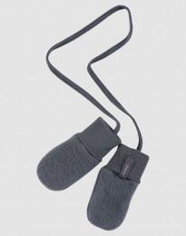 Luffer til baby i merino uldfleece mørk grå