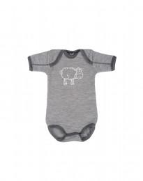 Merino uldbody til baby gråmelange