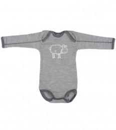 Merino uld langærmet body til baby gråmelange