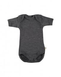 Baby body m/kort ærme - økologisk merino uld mørk gråmelange