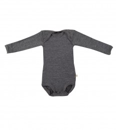 Baby body m/langt ærme - økologisk merino uld mørk gråmelange