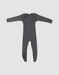 Merino heldragt m/fødder baby mørk gråmelange