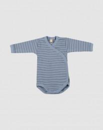 Slå-om body i merino uld til baby Blåstribet