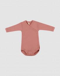 Slå-om body i merino uld til baby mørk Rosa