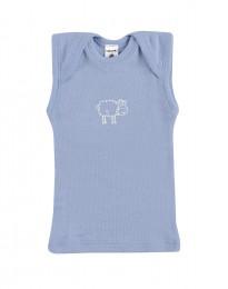 Baby undertrøje - økologisk merino uld blå