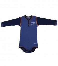 Merino uld langærmet body til baby mørk blå