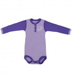 Merino uld langærmet body til baby lilla