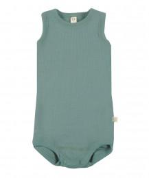 Merino uldbody til baby uden ærmer lys grøn