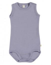 Merino uldbody til baby uden ærmer lys lilla