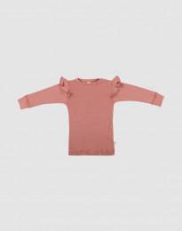 Merino trøje med flæser til baby mørk Rosa
