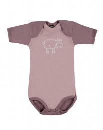Baby body m/kort ærme - økologisk merino uld lys rosa