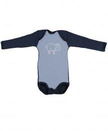 Baby body m/langt ærme - økologisk merino uld blå