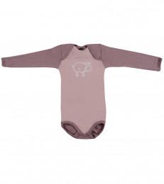 Baby body m/langt ærme - økologisk merino uld lys rosa