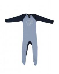 Baby body med fødder - økologisk merino uld blå