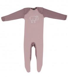 Baby body med fødder - økologisk merino uld lys rosa