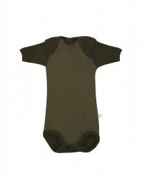 Baby body m/kort ærme - økologisk merino uld grøn