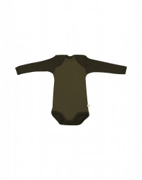 Baby body m/langt ærme - økologisk merino uld grøn