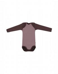 Baby body m/langt ærme - økologisk merino uld mørk rosa