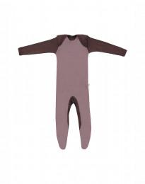 Merino heldragt m/fødder baby mørk rosa