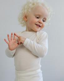 Baby body m/langt ærme - økologisk merino uld natur