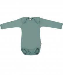 Baby body m/langt ærme - økologisk merino uld lys grøn