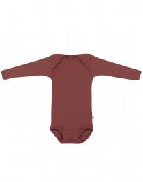 Baby body m/langt ærme - økologisk merino uld rouge