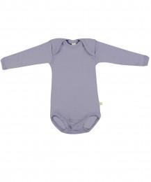 Baby body m/langt ærme - økologisk merino uld lys lilla