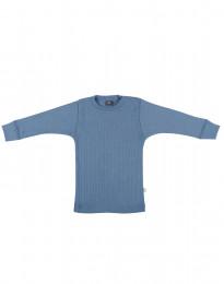 Merino trøje i bred rib til baby dueblå