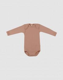 Baby body m/langt ærme - økologisk merino uld pudder
