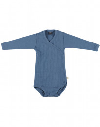 Slå-om body i ribstrikket uld til baby dueblå