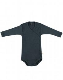 Slå-om body i ribstrikket uld til baby mørk petrolblå