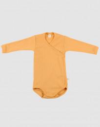 Slå-om body i ribstrikket uld til baby gul