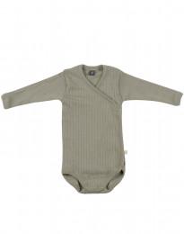 Slå-om body i ribstrikket uld til baby olivengrøn