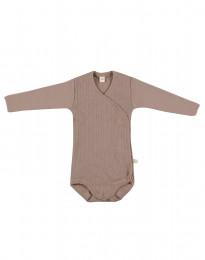 Slå-om body i ribstrikket uld til baby støvet rosa